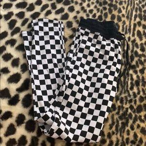 Brand new forever 21 checkered denim jogger pants